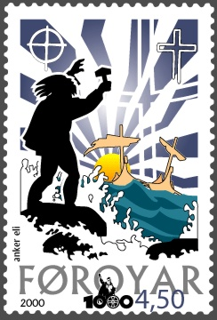 Faroe_stamp_360_arrival_of_christianity